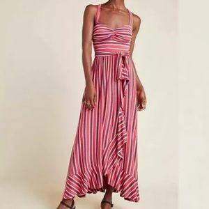 NWT Maeve Gabriela Striped Ruffled Maxi Dress XS